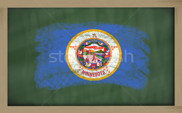 flag of us state of minnesota on blackboard painted with chalk Stock photo © vepar5