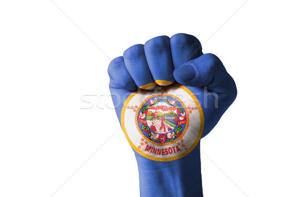 Fist painted in colors of us state of minnesota flag Stock photo © vepar5