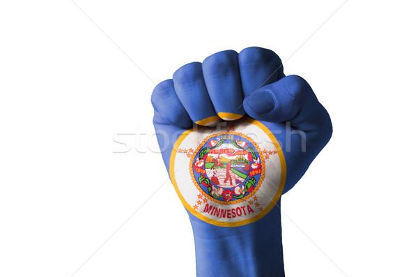 кулаком окрашенный цветами Миннесота флаг низкий Сток-фото © vepar5