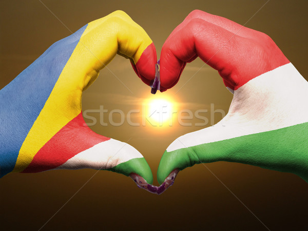 Heart and love gesture by hands colored in seychelles flag durin Stock photo © vepar5