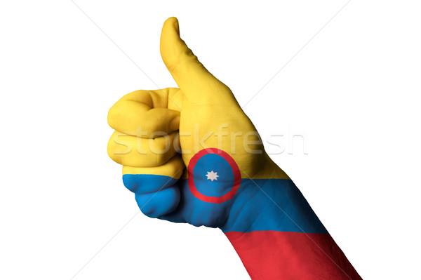 Colombia bandiera pollice up gesto eccellenza Foto d'archivio © vepar5