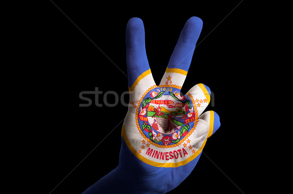 minnesota us state flag two finger up gesture for victory and wi Stock photo © vepar5