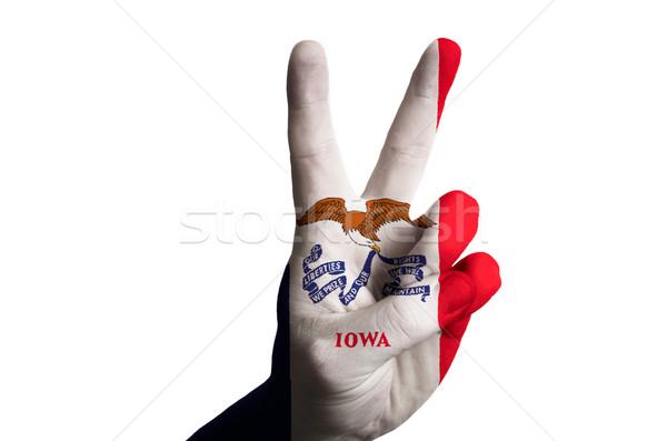 Айова флаг два пальца вверх жест Сток-фото © vepar5