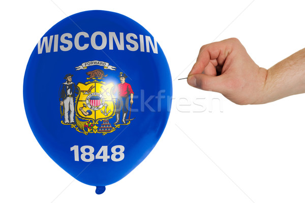 Bursting balloon colored in  flag of american state of wisconsin Stock photo © vepar5