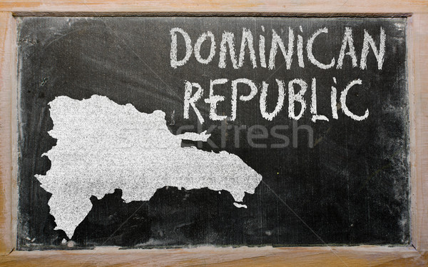 outline map of dominican on blackboard  Stock photo © vepar5