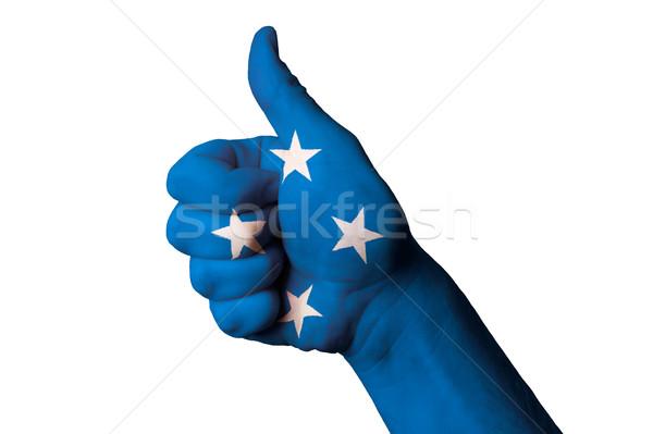 Micronesia bandiera pollice up gesto eccellenza Foto d'archivio © vepar5