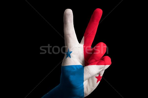 Panama zászló kettő ujj felfelé kézmozdulat Stock fotó © vepar5