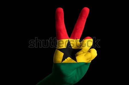ghana national flag two finger up gesture for victory and winner Stock photo © vepar5