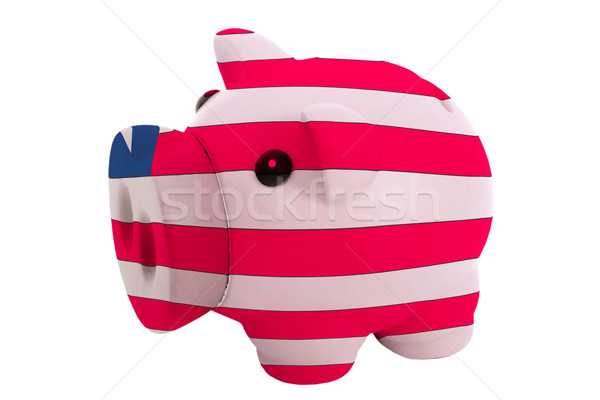 piggy rich bank in colors  national flag of liberia    for savin Stock photo © vepar5