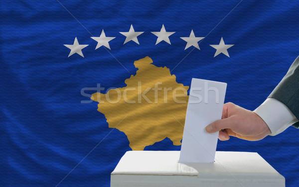 Adam seçimler bayrak Kosova oylama Stok fotoğraf © vepar5