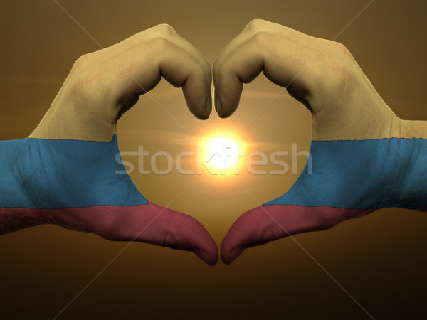 Heart and love gesture by hands colored in columbia flag during  Stock photo © vepar5
