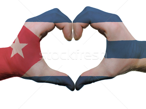 Heart and love gesture in cuba flag colors by hands isolated on  Stock photo © vepar5