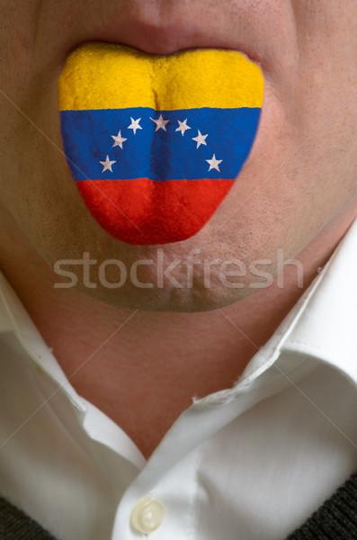 man tongue painted in venezuela flag symbolizing to knowledge to Stock photo © vepar5