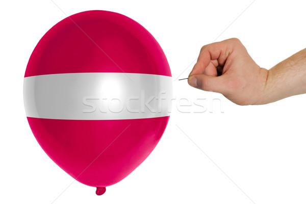 Léggömb színes zászló Lettország politika rombolás Stock fotó © vepar5