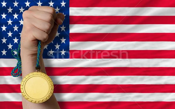 Aranyérem sport zászló Amerika nyertes tart Stock fotó © vepar5