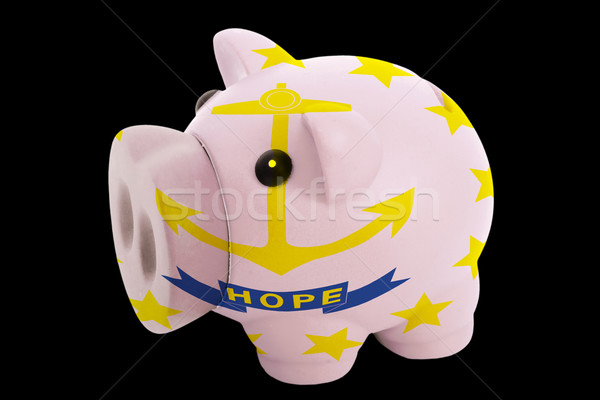 piggy rich bank in colors flag of american state of rhode island Stock photo © vepar5