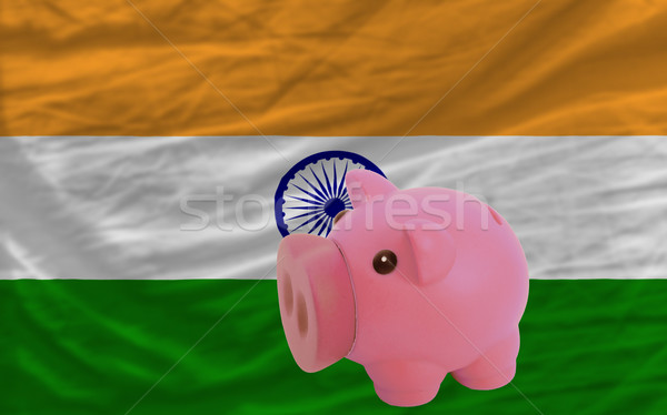 piggy rich bank and  national flag of  of india    Stock photo © vepar5