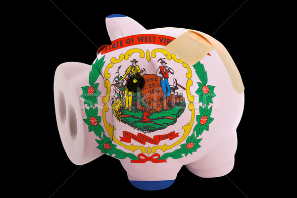 bankrupt piggy rich bank in colors of flag of american state of  Stock photo © vepar5