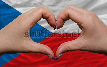 Heart and love gesture showed by hands over flag of holland back Stock photo © vepar5