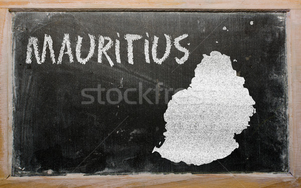outline map of mauritius on blackboard  Stock photo © vepar5