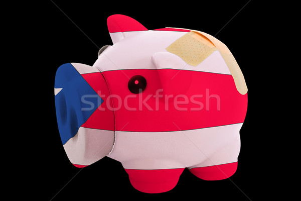 bankrupt piggy rich bank in colors of national flag of puertoric Stock photo © vepar5