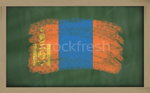 Zászló Mongólia iskolatábla festett kréta szín Stock fotó © vepar5