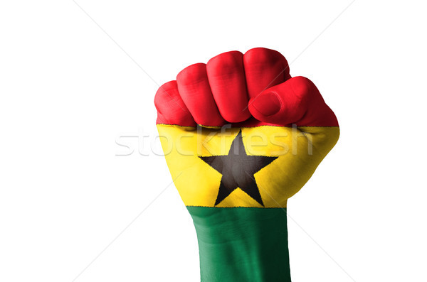 Fist painted in colors of great ghana flag Stock photo © vepar5