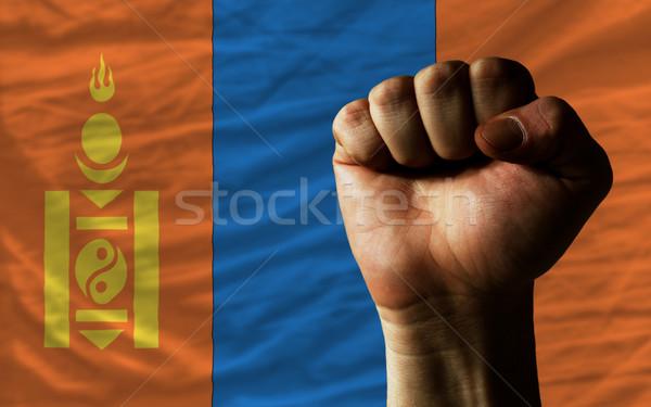 Hard fist in front of mongolia flag symbolizing power Stock photo © vepar5