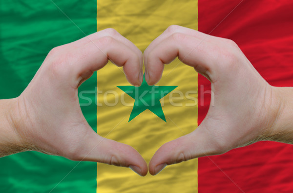Hart liefde gebaar handen vlag Senegal Stockfoto © vepar5