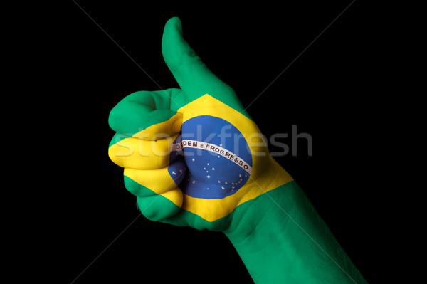 Brasil bandeira polegar para cima gesto excelência Foto stock © vepar5