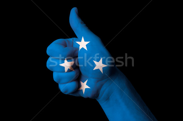 micronesia national flag thumb up gesture for excellence and ach Stock photo © vepar5