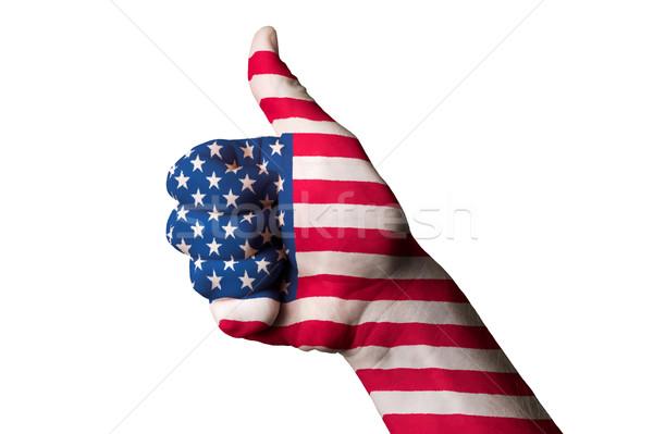 Америки флаг большой палец руки вверх жест превосходство Сток-фото © vepar5