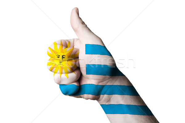 uruguay national flag thumb up gesture for excellence and achiev Stock photo © vepar5