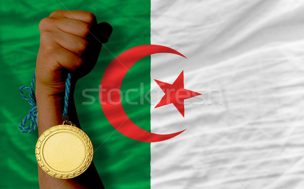 Aranyérem sport zászló Algéria nyertes tart Stock fotó © vepar5