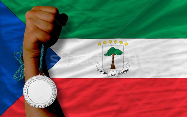 Zilver medaille sport vlag Equatoriaal-Guinea Stockfoto © vepar5