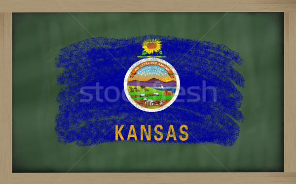 Bayrak Kansas tahta boyalı tebeşir amerikan Stok fotoğraf © vepar5