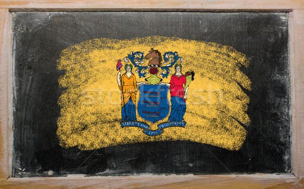 flag of US state of new jersey on blackboard painted with chalk Stock photo © vepar5