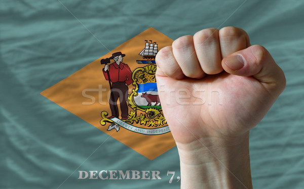 us state flag of delaware with hard fist in front of it symboliz Stock photo © vepar5