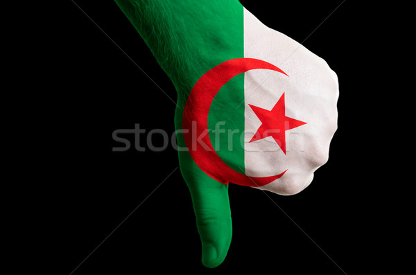 algeria national flag thumb down gesture for failure made with h Stock photo © vepar5