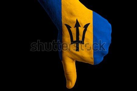 Barbados bandeira polegar para baixo gesto falha Foto stock © vepar5