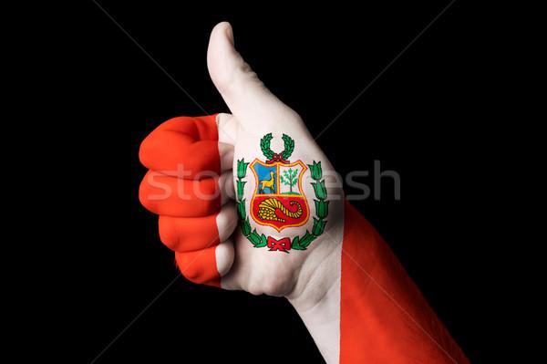 Peru bayrak başparmak yukarı jest mükemmellik Stok fotoğraf © vepar5