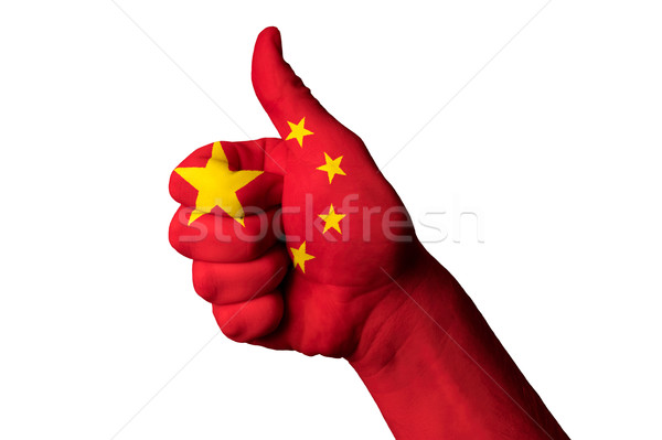 china national flag thumb up gesture for excellence and achievem Stock photo © vepar5
