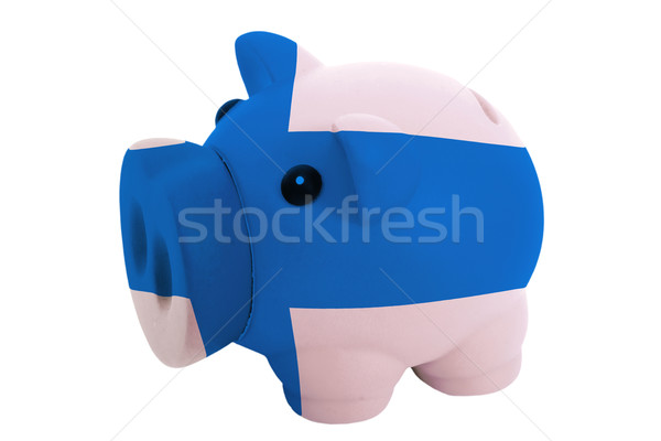 piggy rich bank in colors  national flag of finland    for savin Stock photo © vepar5