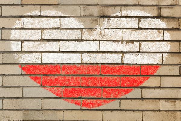 Forme de coeur pavillon Pologne mur de briques coeur Photo stock © vepar5