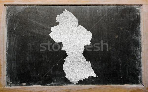 Schets kaart Guyana Blackboard tekening Stockfoto © vepar5