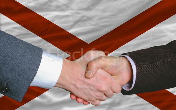 Amerikan bayrak Alabama iki işadamları eller Stok fotoğraf © vepar5