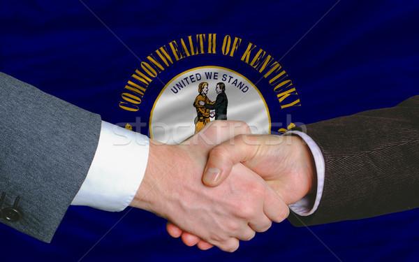 Americano bandeira Kentucky dois empresários mão Foto stock © vepar5