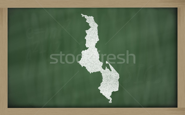 outline map of malawi on blackboard  Stock photo © vepar5