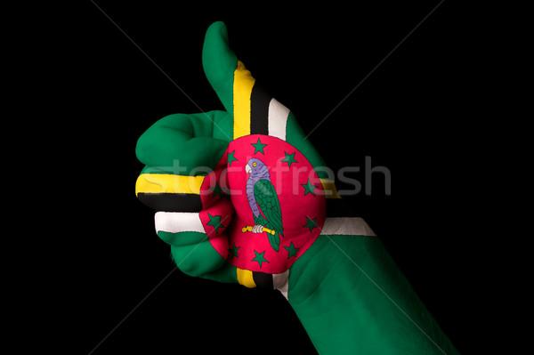Dominika banderą kciuk w górę gest doskonałość Zdjęcia stock © vepar5