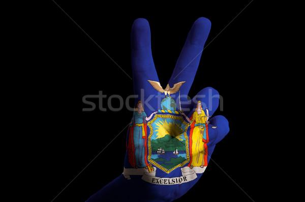 Nova Iorque bandeira dois dedo para cima gesto Foto stock © vepar5